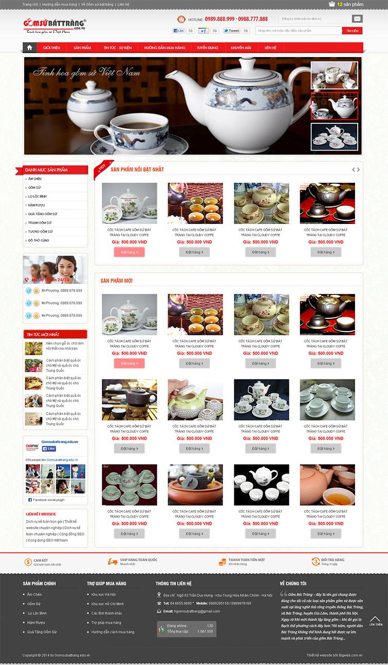 Thiết kế website bán hàng Gốm Sứ Bát Tràng