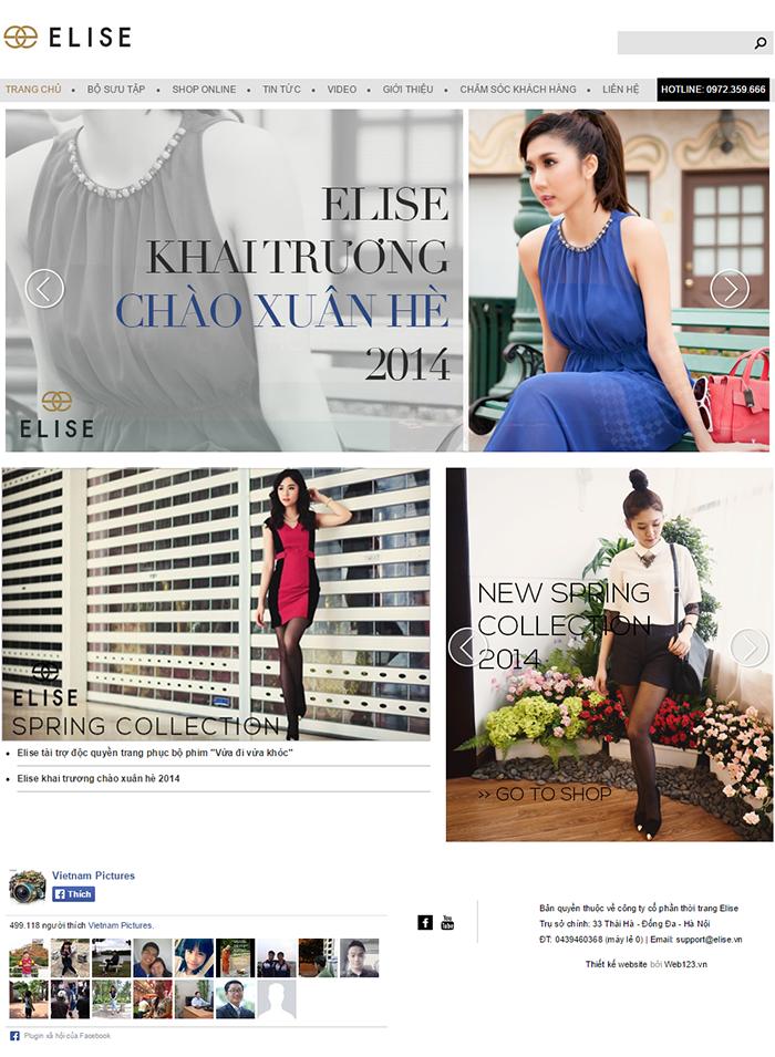 Thiết kế website nhãn hiệu thời trang Elise