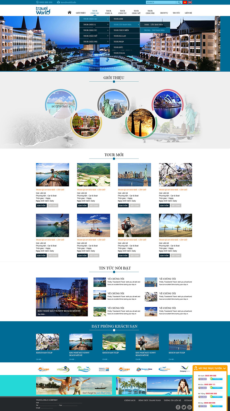 Thiết kế website du lịch travel world